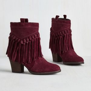 Real Suede Fringe Booties in Burgundy by ModCloth